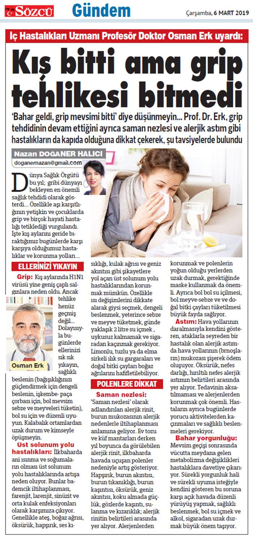 SOZCU-2019.03.06-Kış Bitti Ama Grip Tehlikesi Bitmedi